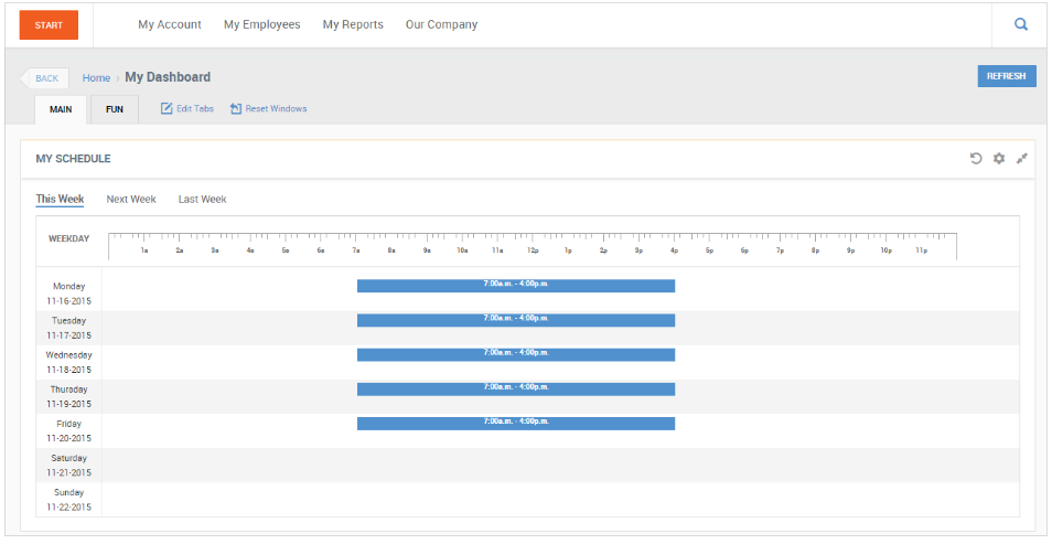 Time and Attendance Employee Schedule View